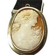 Oversized Three Color Shell Cameo in 14k Rose Gold Pin/Pendant Setting
