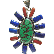 Tibetan Sterling Pendant with Turquoise, Lapis and Red Coral