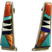 Sterling Silver Multi Stone Inlay Earrings