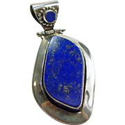 Tibetan Sterling Silver Pendant with Lapis