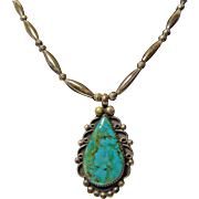 Rare Turquoise Pendant on a Bench Bead Necklace