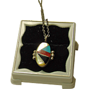 1960s Zuni Sterling Silver Inlay Pendant Necklace and Chain
