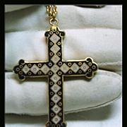 Double Sided Enamel Cross in Gold Tone Metal