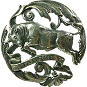 SALE Sterling Silver Taurus Broach by Sellon