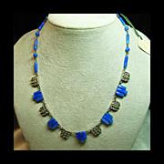 SALE Faux Lapis and Marcasite Art Dec Style Necklace