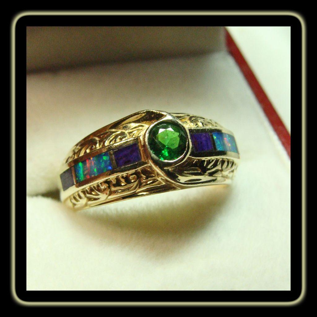 Tsavorite Garnet 18k Gold ring with Black Opal and Sugilite
