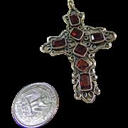 Sterling Silver Cross with Emerald Cut Rhodolite Garnets