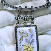Vintage Enamel on Metal Floral Pendant with Chain