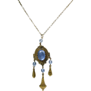 Victorian Revival Necklace  and Pendant in Brass with Blue Stones