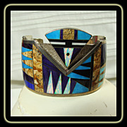 Sterling Cuff Bracelet Decorated in Multiple Stone Inlay
