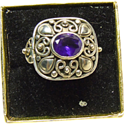 Sterling Silver Amethyst Ring with Elaborate Sterling Silver Decoration