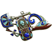 1920s Egyptian Revival Pin Made Up of the Eye of Horus, Plaque with Scarab , Egyptian ...