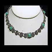 1930's Necklace of Silver Colored Metal and Green Art Glass