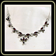 Delicate Sterling Silver and Red Garnet Necklace