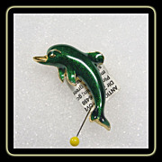 Jomaz Porpoise Pin  in Emerald Green and Gold