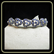 Sapphire  and  Sterling Silver with Rhodium  Link Style Bracelet