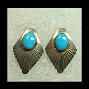 Turquoise and Sterling Silver Earrings for Pierced Ears