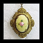 Brass Locket and Chain with Guilloche Enamel