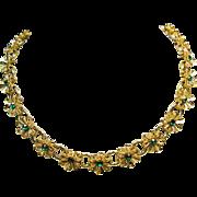 SALE Costume Jewelry Sale ****** Gold Tone Flower Necklace with Dark Green Rhinestones