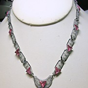 1920s-1930s Filigree Necklace with Hot Pink Stones