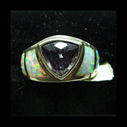 Amethyst and Opal Sterling Band Ring