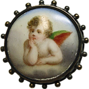 Victorian Cherub on Porcelain Pin