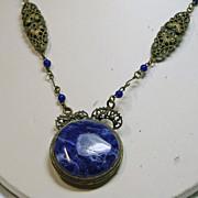 Vintage Czech Faux Lapis and Brass Filigree Necklace