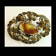 SALE Victorian  Sash Brooch with Ivy and Lady Bugs Surrounding Center Faux Agate