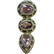 Stunning Amethyst and Sterling Silver Slide Pendant