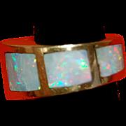 SALE Fantastic Custom Modernist Australian Opal Ring 14 Kt