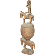 Antique African Carving Mali Dogon Lidded Container Equestrian