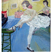 "SALE ""A. Real"" School of Paris   Oil of on canvas  Ballerinas c. 1930s"