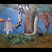 """SALE Julius Moessel """"Fantasy """" Vintage Oil on Canvas *Listed California Artist"""
