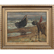 SALE Ulrich W Fischer Listed TEXAS Artist Impressionist Beach Seascape Boat Painting