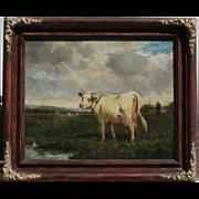Cow in pasture by Emile van Marcke de Lummen