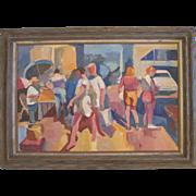 "SALE Raymond Cuevas Org. Painting by listed CA artist ""Los Angeles Street"""