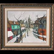 Bernard Lignon, Listed French Modernist, Mid Century Artist Montmarte Paris Scene 1965
