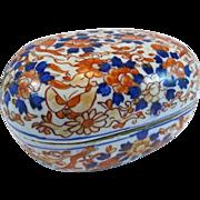 SALE Rare Meiji Period Kutani / Imari Oval Shaped Covered Box