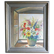 SALE Org Oil on Canvas by Esgen dated 1943 Still Life of Flowers in front of a Window