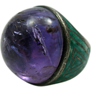 Great Vintage Amethyst and Enamel Ring