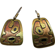 Vintage Mexican Mixed metal and Black Enamel Earrings