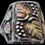 SALE Vintage Estate Sterling Silver and Black Hills Gold Man's Ring