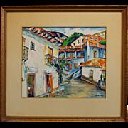 "SALE French Folk Art Artist Elisee Maclet (1881-1962) Mixed Media ""Town Street"""