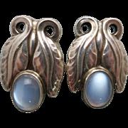 Georg Jensen Leaf Earrings No. 108 w/ Blue Moonstones