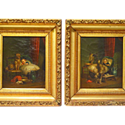 SOLD Pair English Oil Paintings Dog Watching Over Baby