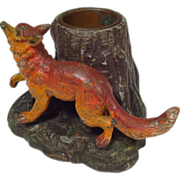 SOLD Figural Running Fox Inkwell Cold Painted Metal