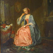 SOLD Oil Painting Beautiful Young Woman in Parlor Holding Love Letter Peter Noel