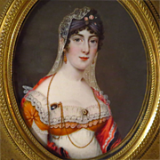 SOLD Continental Portrait Miniature Beautiful Young Woman with Wonderful Jewelry