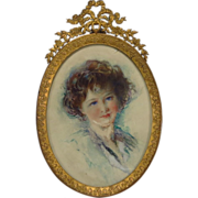 SOLD Beautiful Young Girl Portrait Miniature French Bronze Frame
