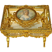 French Baccarat Glass Vitrine Casket Dore Bronze Mounts Portrait Miniature